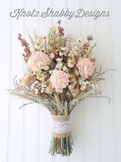 Vintage Blush Wildflower Bridal Bouquet