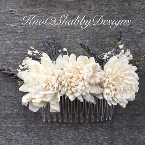 Sola Flower Dried Lavender and Cream Bridal Comb