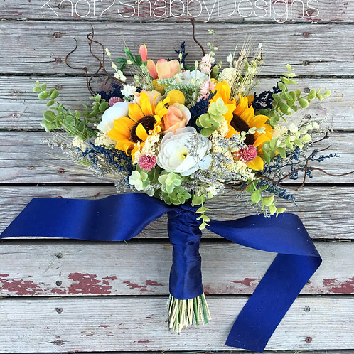Navy, Peach, and blush sunflower wildflower bridal bouquet