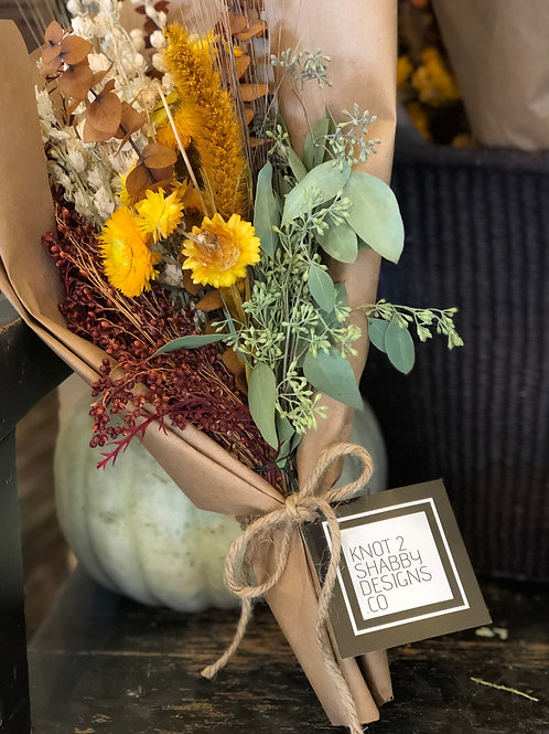 Farmhouse wrapped dried flower bouquets to your door