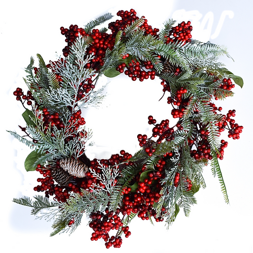 """FROSTED FERN & BERRY WREATH - 22"""""""