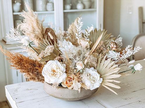 Boho dried flower cement centerpiece