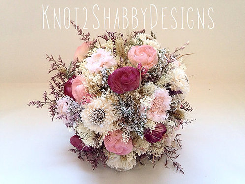 Blush and Wine Sola Dried Flower Bouquet