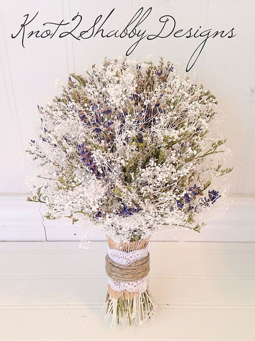 Dried babys breath and lavender bouquet - bridal - bridesmaids -