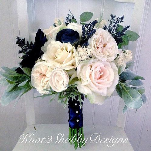 blush and Navy Faux Bridal bouquet Alternative