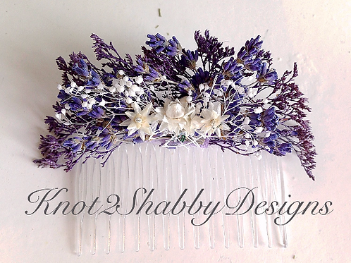 Dried Lavender and babies breath hair comb - Lavender hair comb - dried flowers