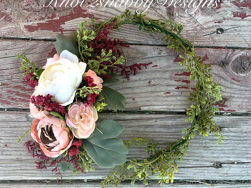 Marsala and Blush Bohemian flower Crown