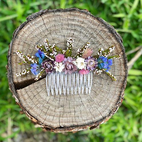 The Wilder - Dusty blue and pink wildflower hair comb
