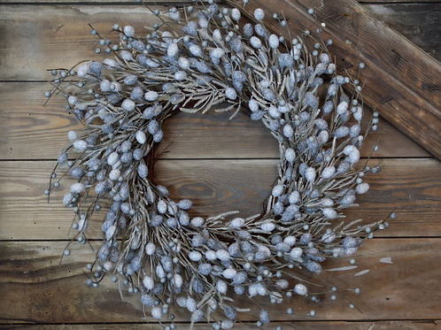 """Faux SILVER BUNNY TAIL WREATH - 26"""""""