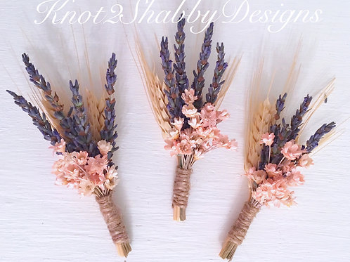 Lavender and Blush dried wheat boutonnière
