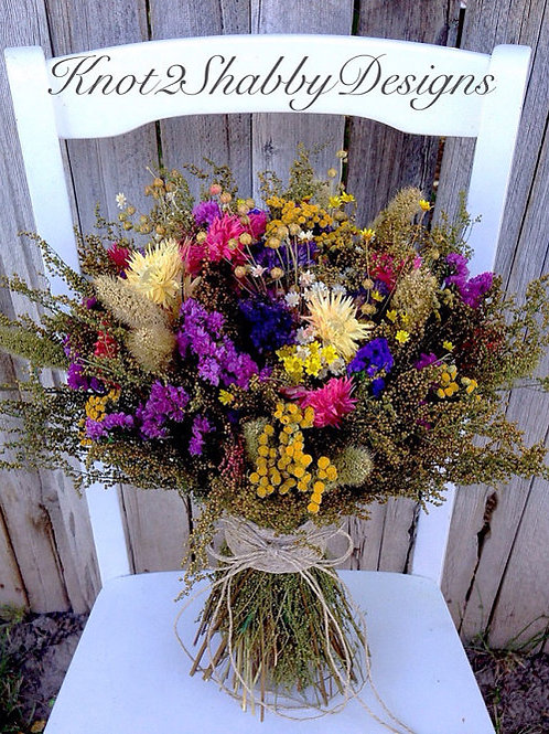 Dried wildflower fields bouquet with sweet annie