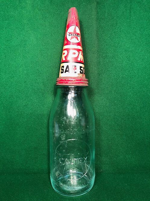 Caltex Quart Bottle and Tin Top