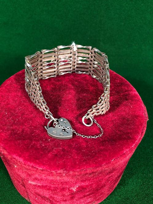 8 Bar Sterling Silver Gate Link Bracelet