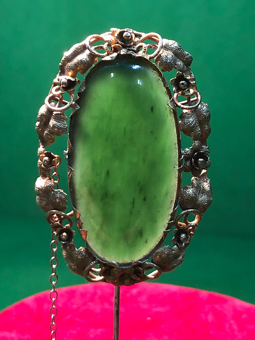 New Zealand Green Stone Brooch set in a Gold mount