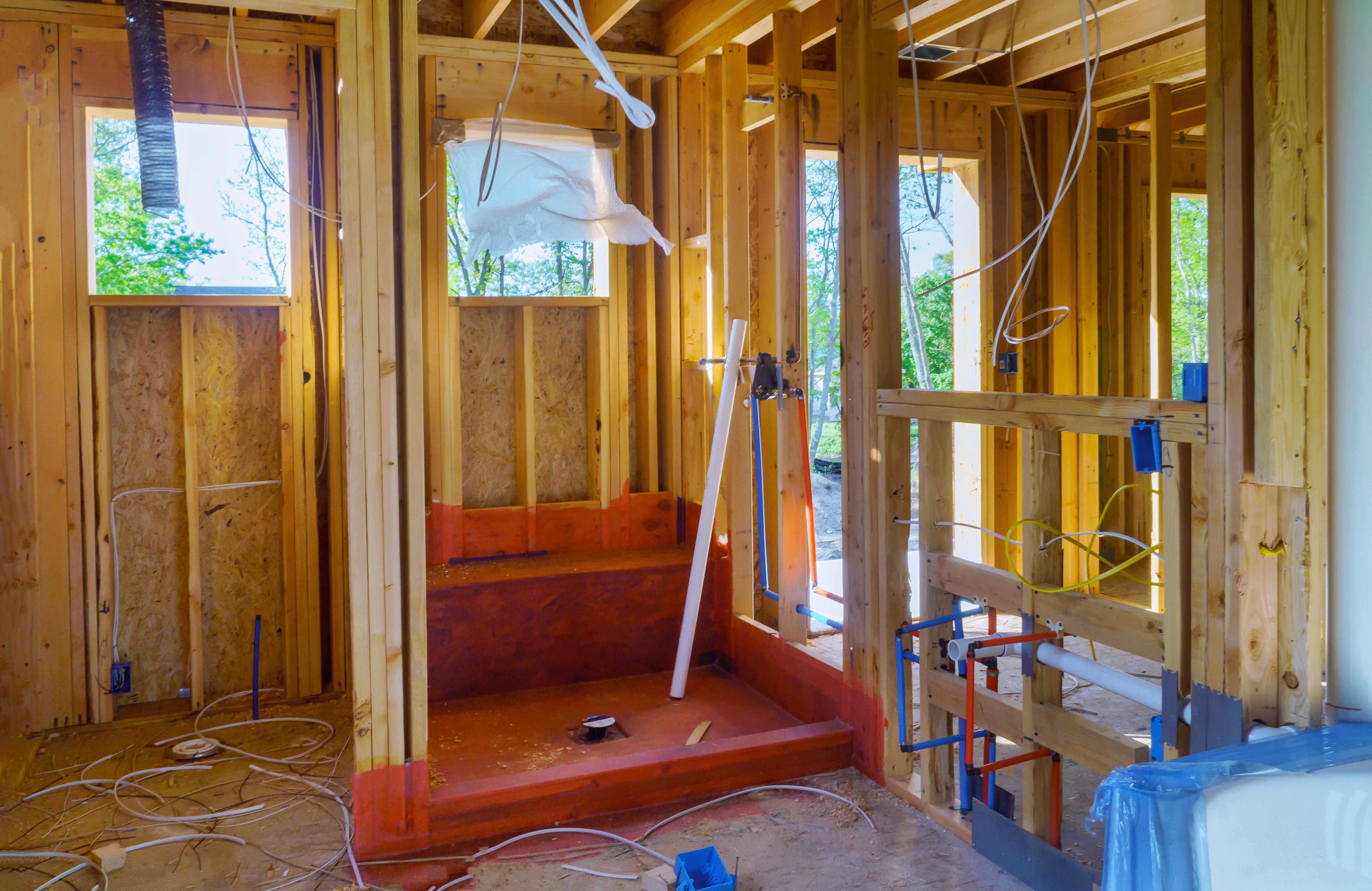 Bathroom shower under plumbing connectin