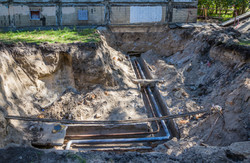 Excavated water pipes after replacement