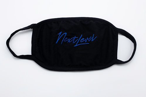 Black Next Level Mask with Blue Stitching