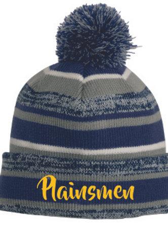 Stripe Pom Pom Hat