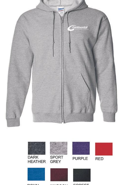 Continental Mfg. Full zip hooded sweatshirt