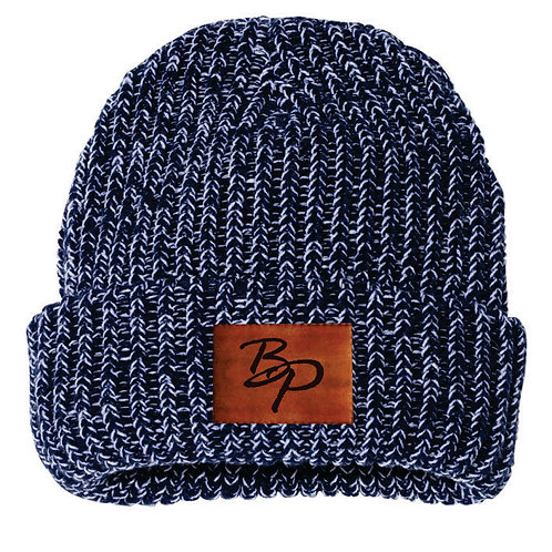 Chunky Knit Hat w/ Leather Patch