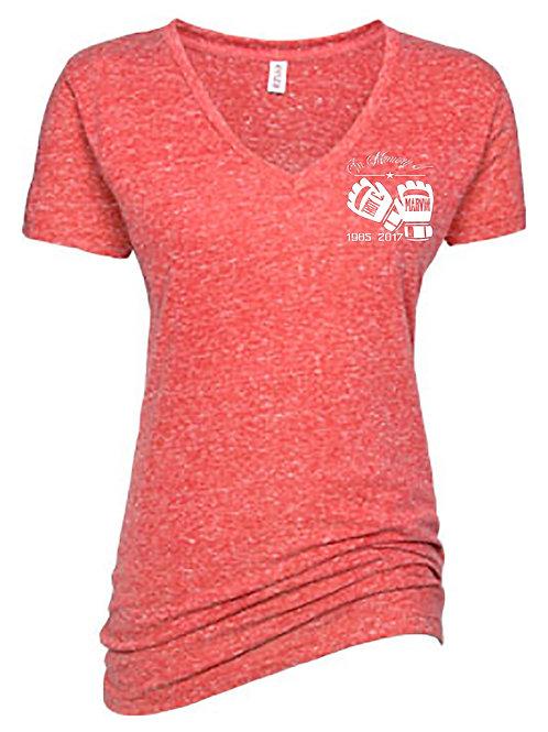 Plus Size Ladies Coral V-Neck