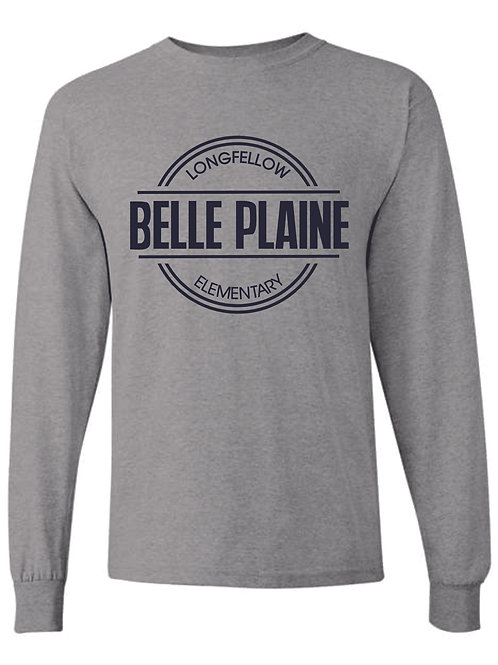 Long Sleeve T-Shirt - Navy or Heather Grey with circle logo