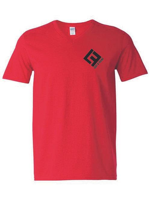 V NECK T-SHIRT - RED