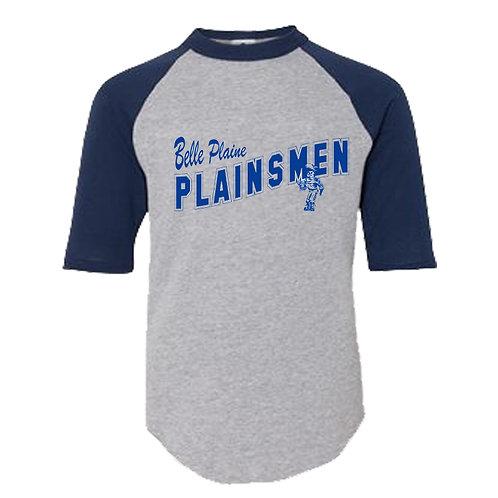 Youth Sport Grey/Navy 3/4 Sleeve T-Shirt