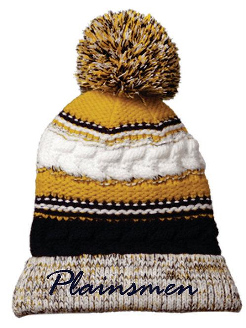 Knit Striped Pom Pom Hat
