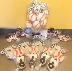 Baseball themed CakePop.Cookies