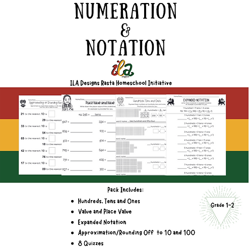 Numeration and Notation Math Pack Gr1-2