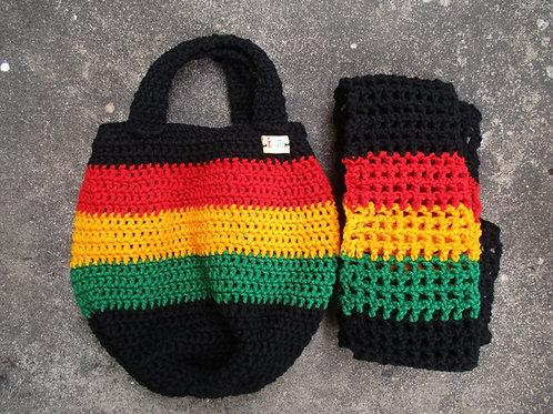 Black Rasta Crochet Bucket Bag and Scarf/Wrap Set