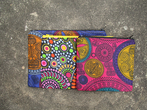 Blue and Pink Set of 3 Zipper Pouch