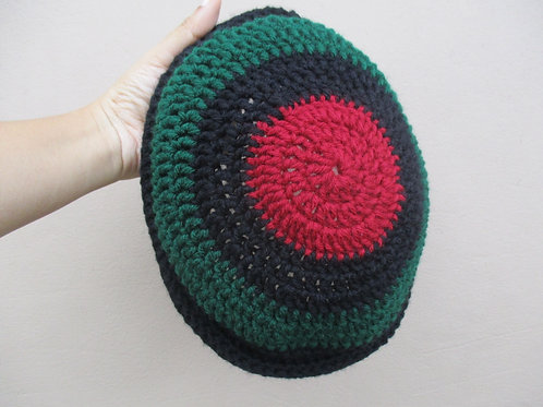 Striped Garveyite Natty Roll-Up Crochet Tam