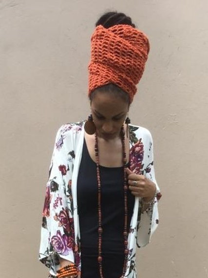 Orange Crochet Head Wrap