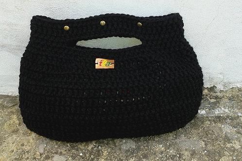 Midnight Black Studded Crochet Clutch Bag