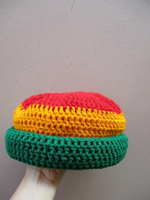 Bright Rasta Roll-Up Crochet Tam