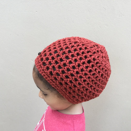 Unisex Drawstring Crochet Tam Hat for Youth age 1-6