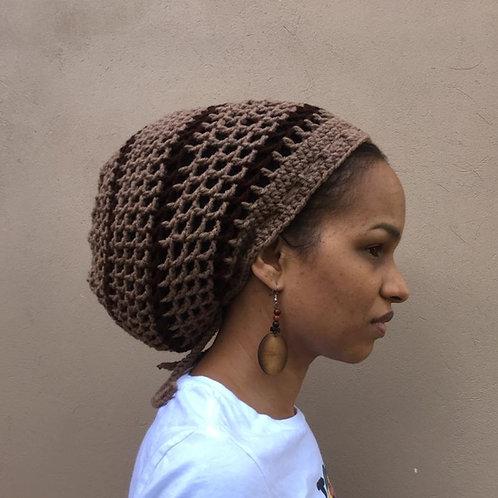 ILA  Khaki and Brown Striped Dread Nett Crochet Tam