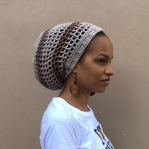 ILA  Saharan Striped Dread Nett Crochet Tam
