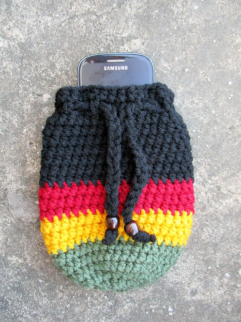 Black Red Gold Green Striped Crochet Pouch