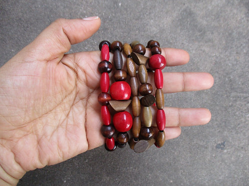 Red and Brown Beaded Bracelets