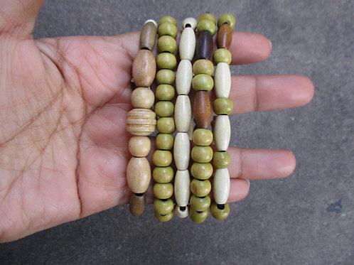 Bone Green and Yellow Beaded Bracelets