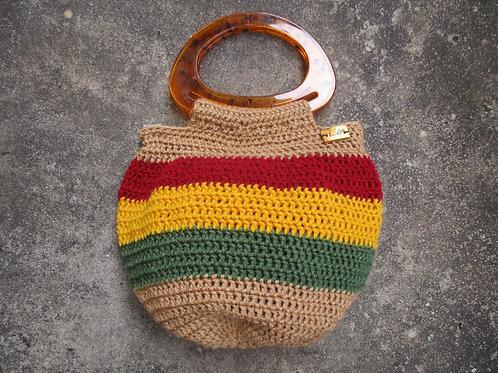 Khaki Rasta Crochet Bucket Bag
