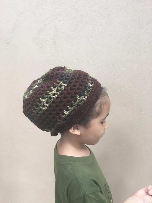 Brown Camo Stripes XS  Crochet Tam