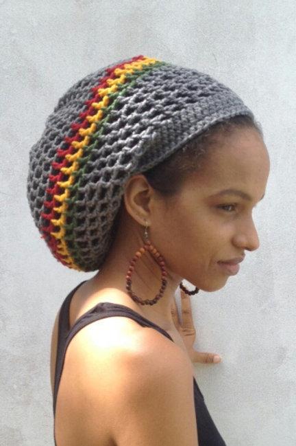 ILA IRas Dread Nett Rasta stripe Crochet Tam