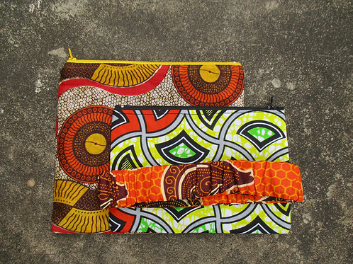 Brown and Orange Set of 3 Zipper Pouches and Headband