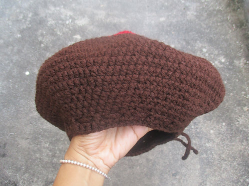 Brown Beret with Rainbow Circle S