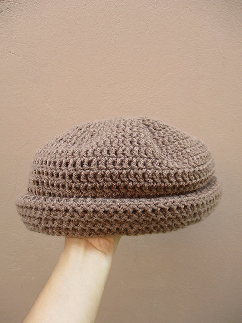 Khaki L Natty Roll-Up Crochet Tam