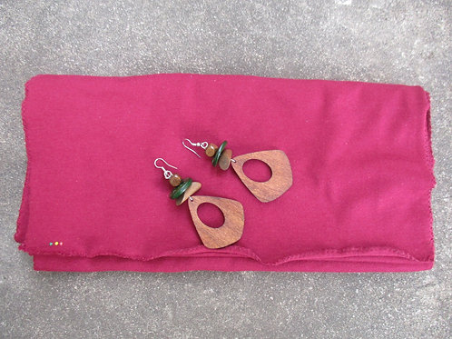 Cranberry Loc Wrap and Earring Set